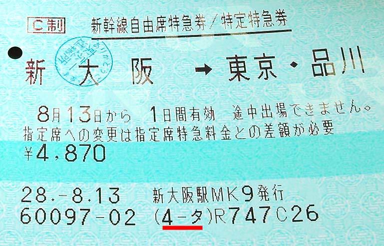 自由席特急券 新大阪→東京