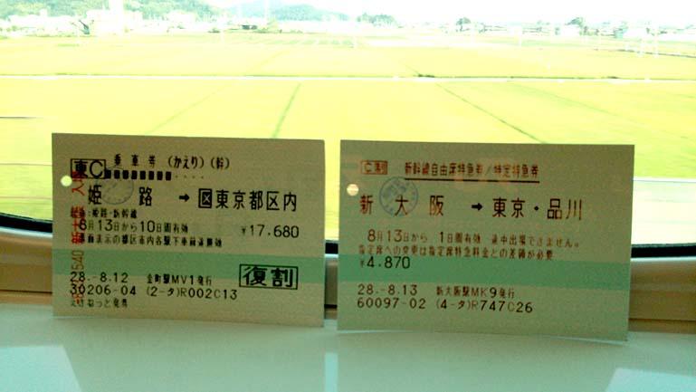 往復乗車券 自由席特急券 新大阪→東京